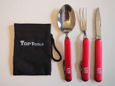 Folding Cutlery Set  - 3 pieces of cutlery and 1 pouch - camping