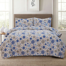 Twin, Full/Queen or King Winter Snowflake Quilt Bedding Set Bedspread, Blue Grey