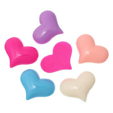 10 pcs - Heart Resin Cabochon, Embellishment Findings Mixed colour, 3cm x 2.4cm