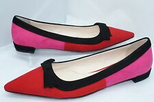 New Prada women's Shoes Red Ballet Flats Size 38 Pink Calzature Donna