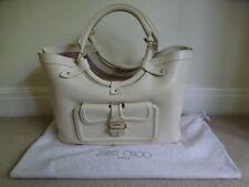 JIMMY CHOO Large Cream Leather Tote Satchel Shopper Bag In Cream & Dustbag