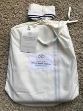 RESTORATION HARDWARE Hotel Satin Stitch Ivory Cal King Bed Skirt - NEW - Navy