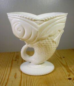 Victorian Milk Glass Wide-Mouth Fish Vase