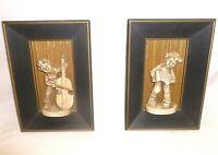 Vintage Shadow Box Wall Art Plaques Hangings Mid Century Pair Boy Music Musician