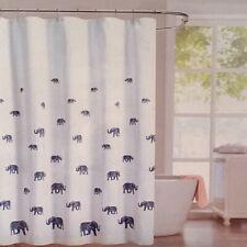 New Envogue Fabric Shower Curtain Elephant Blue  White 100% Cotton