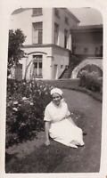 Nurse in hospital grounds photograph vintage black & white early 20th century #1