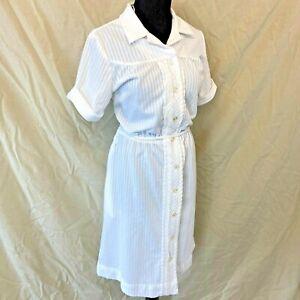 Vintage Nurse Uniform Dress size L Seersucker Texture Belted White Swan DS5