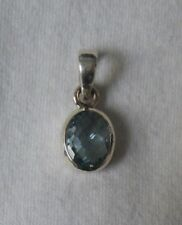 "Blue Topaz Pendant .925 Sterling Silver 7/8"" x 3/8"""