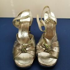 Vintage 1970's Silver Disco High Heel Sandals size 8M