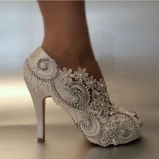 Ladies Pearls Rhinestone Peep Toe Satin Shoes Bridal High Heel Stilettos Ivory