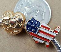 ROSE GOLD I LOVE USA American Flag Star Stripes Map Heart European Beads Charms