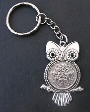 1958 60th birthday lucky Sixpence Owl Charm keyring present a gift box wedding