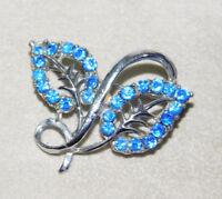 Vintage Sapphire Blue Glass Rhinestone Leaves Silver tone Brooch Pin 4k 29