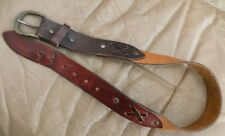 Vintage Distressed Belt Tri Color Leather Double Xs & Rivets, for a small waist