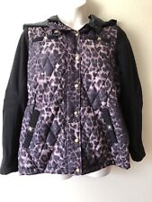 Centigrade Reversible Fleece Jacket Black w/ Animal Print SZ XL Zip & Snap Front