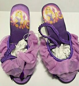 Deluxe~RAPUNZEL~Jewel + Bow~SLIPPERS~TANGLED~Purple~NWT~Disney Store