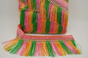 COLOURFUL TASSEL TRIM FRINGE 5INCH WIDE 11 METRE PACK, Pink, Green and Gold