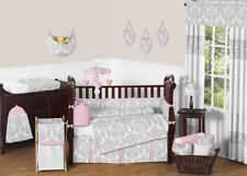 Sweet Jojo Luxury Pink and Gray Damask Baby Bedding Crib 9p Set for Newborn Girl