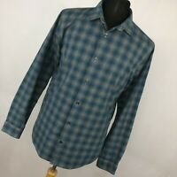 Vince L Large Shirt Blue Gray Button Down Front Men Plaid Checkered Long Slv L1