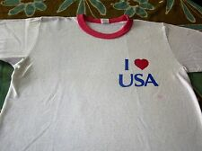 I HEART USA VINTAGE TEE SHIRT SMALL NICE RARE 70S SHIRT RINGER