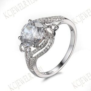 AAA Graded Cubic Zirconia Round Cut Gemstone Jewelry Solid 14K White Gold Ring