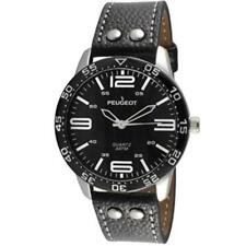 Peugeot Sport Men's Black Leather Aviator black Dial Watch - 2049SBK