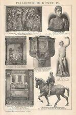 B0232 Arte Italiana - Xilografia d'epoca - 1902 Vintage engraving