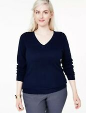 NEW CHARTER CLUB LUXURY Cashmere V-Neck Sweater Navy  2X $140