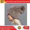 Winter Hat Fashion Women Beanie Solid Elastic Rex Rabbit Fur Cap Knitted Pompom