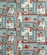 Patchwork Quilting Sewing Fabric Christmas SNOWMAN PATCH FQ Grey 50x55cm NEW