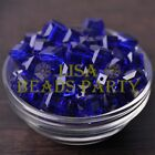 New 10pcs 10mm Cube Square Faceted Crystal Glass Loose Spacer Beads Deep Blue