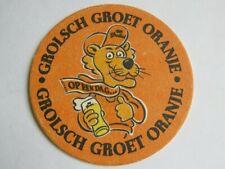 Beer Pub Coaster ~ GROLSCH Premium Pilsner Bier ~ Groet Oranje ~ Holland ~ TIGER