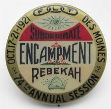 1921 ODD FELLOWS Subordinate Rebekah Encampment Pin DES MOINES IA - IOOF