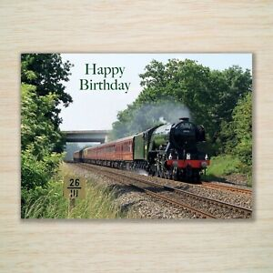 "Happy Birthday Card ""Flying Scotsman"" Steam Train Engine suit Dad Husband Son"