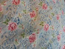 Ralph Lauren Pink Blue Roses Queen Fitted Sheet Vntg. Guc
