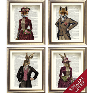 DICTIONARY Art Print on Book Page FOX HARE Book Rabbit VINTAGE STEAMPUNK ANIMAL
