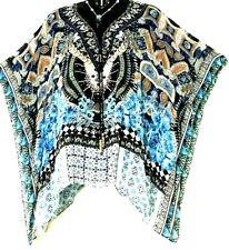 Kaftans Top / Long / Blues / Embellished / Beaded Ties / Wholesale RR $99.95