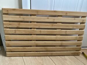 Duckboard Bath Mat Wooden Slatted Non Slip Bathroom Shower Board M&W 59cmx35cm