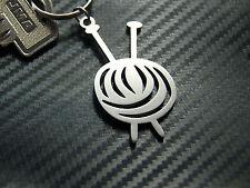 KNITTING Knit Pattern Needles Wool Yarn Weft Crafting  Keyring Keychain Key Gift
