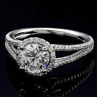 1.52 CT ROUND CUT DIAMOND HALO ENGAGEMENT RING 14K WHITE GOLD