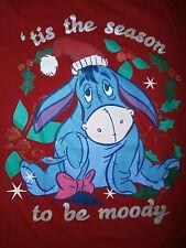 EEYORE CHRISTMAS T SHIRT Tis Season To Be MOODY Holiday Womens Girls JUNIORS 7/9