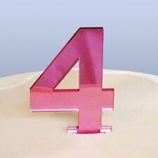 numéro 4 gâteau décoration Rose Acrylique Miroir (approximativement 6cm