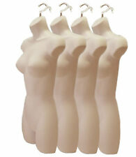 LOT OF 4 FLESH FEMALE DRESS MANNEQUIN FORMS /HANGING HOOKS PLASTIC WOMAN DISPLAY