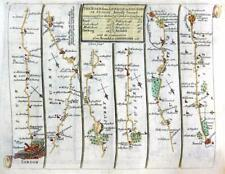 ROAD MAP BY JOHN SENEX  c1762 HAND COLOUR   LONDON CHICHESTER SURREY / HERTFORD