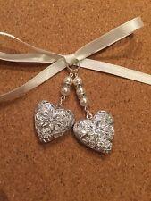 Double Filigree Heart Bridal Bouquet Photo Locket Memory Charm Wedding Swarovski