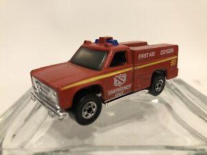 1/64 Hot Wheels Fire Emergency Unit Paramedic Red 1974 Mattel Hong Kong Vintage
