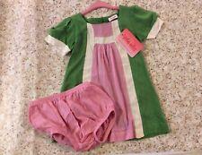 NWT Ella Moss Dress W/ Diaper Cover 12-18 Mth Pink & Green