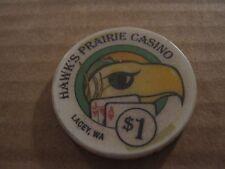 Vintage Hawks Prairie Casino Lacey WA ( Washington )  $1 Casino Chip