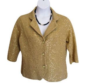 ECI Metallic Gold Sequin Knit Jacket Plus Size 1X Button Front Fancy Cocktail