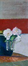 René GENIS - Huile sur papier originale - 3 roses